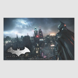 Batman Looking Over City Rectangular Sticker
