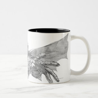 Batman Lunging Forward Drawing 2 Two-Tone Coffee Mug