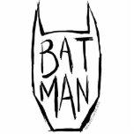 Batman mecanografía adentro la cabeza fotoescultura vertical