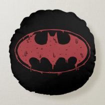 Batman | Oozing Red Bat Logo Round Pillow