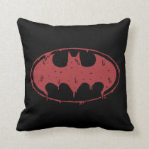 Batman | Oozing Red Bat Logo Throw Pillow