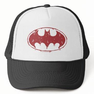 Halloween Themed Batman   Oozing Red Bat Logo Trucker Hat