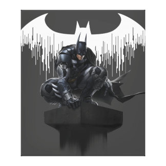 Batman Perched on a Pillar Canvas Print