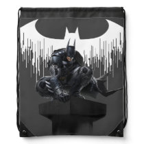 Batman Perched on a Pillar Drawstring Bag