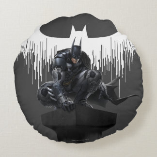 Batman Perched on a Pillar Round Pillow