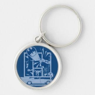 Batman - Picto Blue Silver-Colored Round Keychain