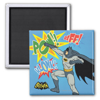 Batman Punching Graphic 2 Inch Square Magnet