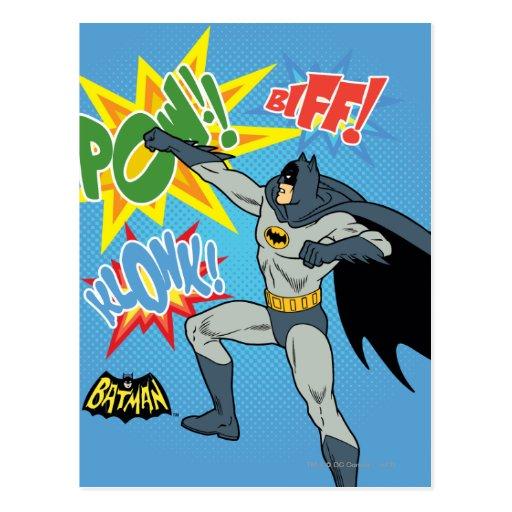 Batman Punching Graphic Postcards