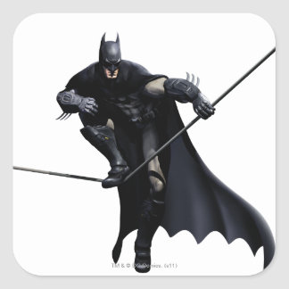 Batman que camina en línea pegatina cuadrada