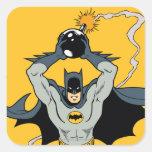 Batman que corre con la bomba pegatina cuadrada