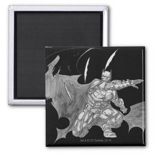 Batman que lanza el dibujo de Batarangs Imanes De Nevera
