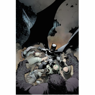 Batman que lucha a enemigos del arco fotoescultura vertical