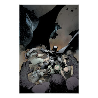 Batman que lucha a enemigos del arco poster