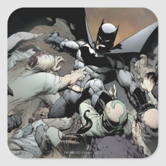 Batman que lucha a enemigos del arco pegatina cuadrada