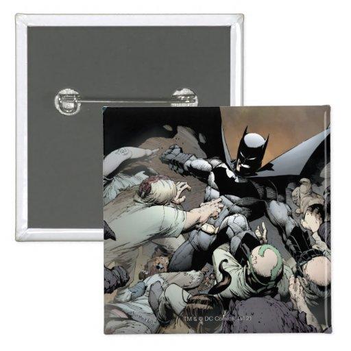 Batman que lucha a enemigos del arco pin cuadrado