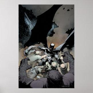 Batman que lucha a enemigos del arco póster