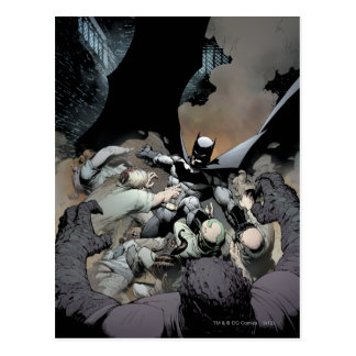 Batman que lucha a enemigos del arco postal