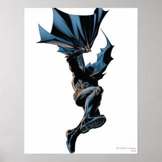 Batman que salta abajo de tiro de la acción poster