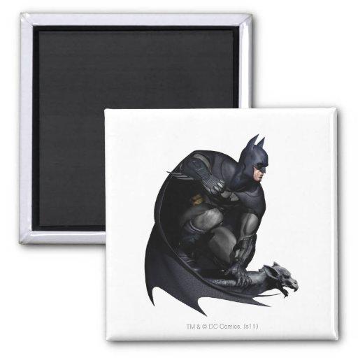 Batman que se agacha imán cuadrado