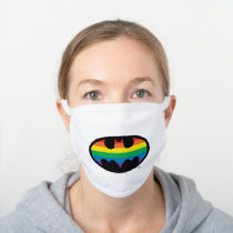 Batman Rainbow Logo White Cotton Face Mask
