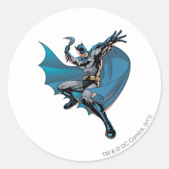 Batman ready to throw classic round sticker
