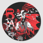 Batman Red and Black Collage Classic Round Sticker