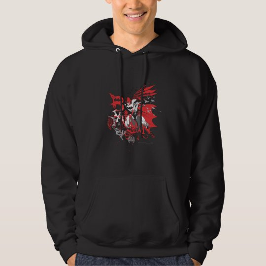 Batman Red and Black Collage Hoodie