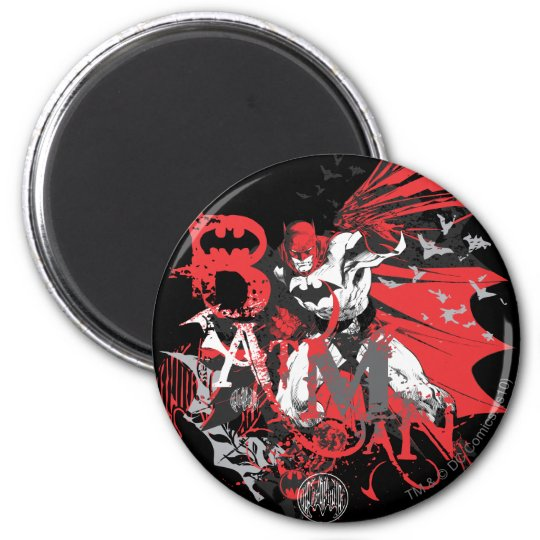 Batman Red and Black Collage Magnet