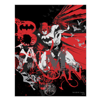 Batman Red and Black Collage Poster