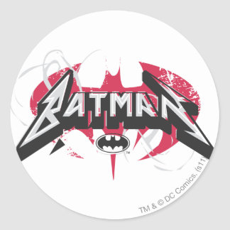 Batman | Red and Black Logo Classic Round Sticker