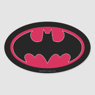 Batman Red Black Logo Oval Sticker
