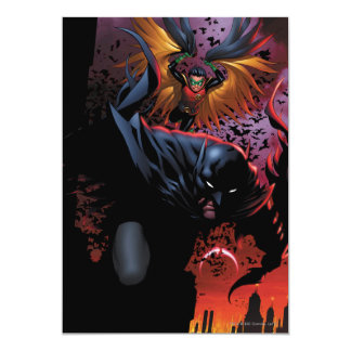 Batman & Robin Flight Over Gotham 5x7 Paper Invitation Card