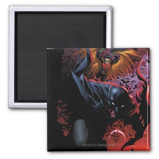Batman & Robin Flight Over Gotham Fridge Magnet