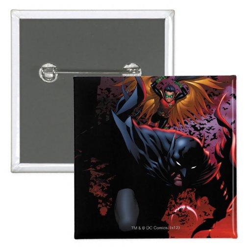 Batman & Robin Flight Over Gotham Pinback Button