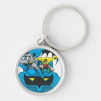 Batman & Robin Ride Batmobile Silver-Colored Round Keychain