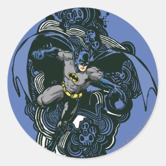 Batman Skulls/Ink Doodle 2 Round Stickers