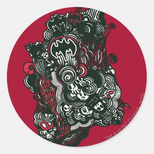 Batman Skulls/Ink Doodle Classic Round Sticker