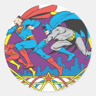 Batman + Superman + Flash Classic Round Sticker