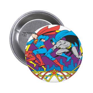 Batman + Superman + Flash Pinback Button