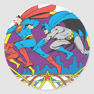 Batman + Superman + Flash Round Stickers