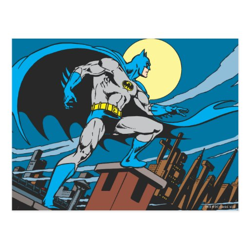 Batman Surveys City Postcard