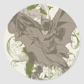 Batman Swinging Collage with Skull Classic Round Sticker