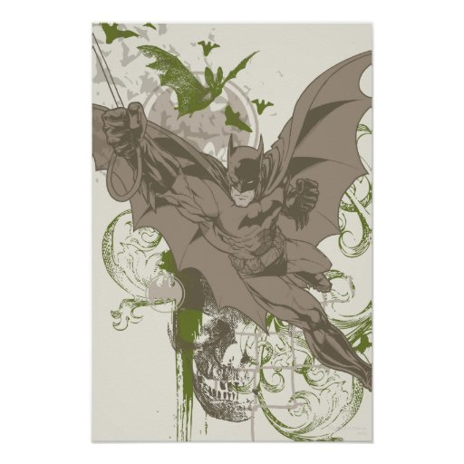 Batman Swinging Collage with Skull Poster