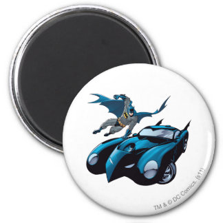 Batman swings over 2 inch round magnet
