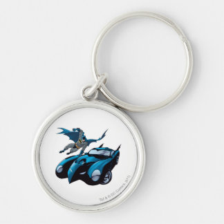 Batman swings over Silver-Colored round keychain