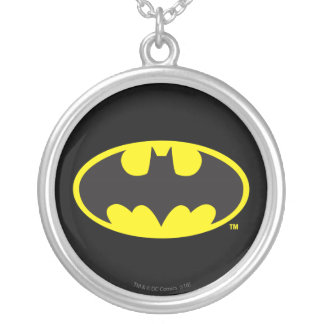 Batman Symbol | Bat Oval Logo Silver Plated Necklace