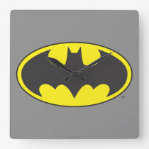 Batman Symbol | Bat Oval Logo Square Wall Clock