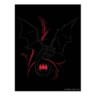Batman Symbol   Bat Red Black Logo Postcard
