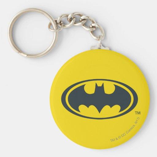 Batman Symbol   Black and White Logo Keychain
