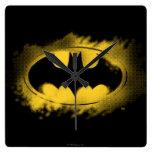 Batman Symbol   Black and Yellow Logo Square Wall Clock